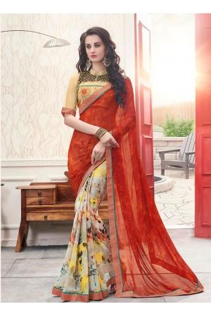 Multi color georgette casual wear saree
