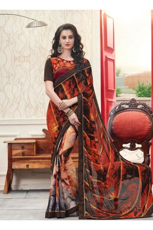 Red and brown georgette casual wear saree