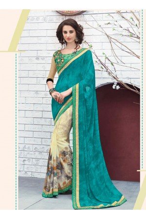 Turquoise georgette casual wear saree