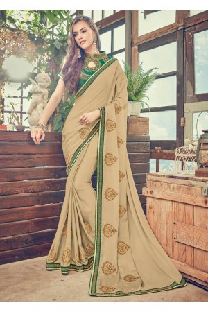 Beige Art Silk Embroidered  Saree 24349
