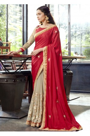 Beige Faux Georgette Embroidered Festive Saree 97074