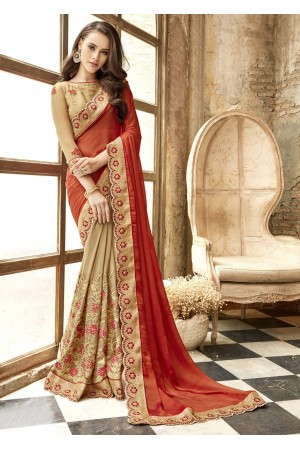 Beige Georgette Chiffon Embroidered Festive Saree 88006
