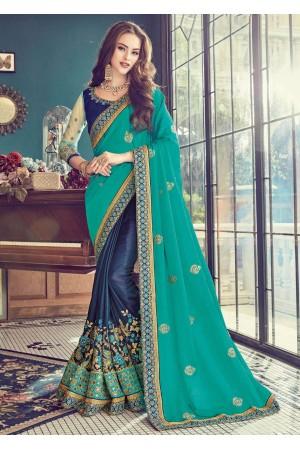 Blue Satin Embroidered  Saree 24352