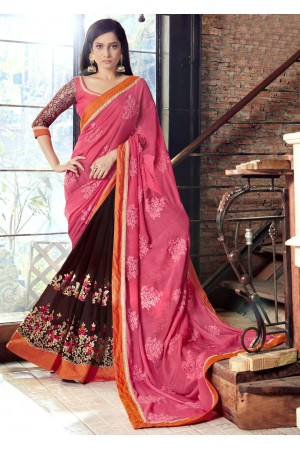 Brown Faux Georgette Embroidered Festive Saree 97077