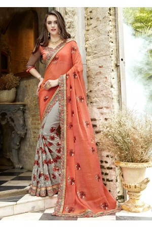 Grey Georgette Chiffon Embroidered Festive Saree 88004