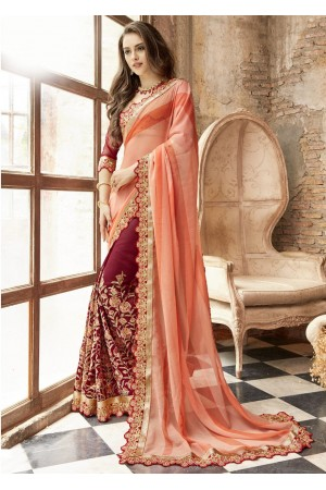 Maroon Georgette Chiffon Embroidered Festive Saree 88008