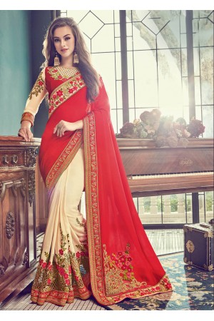 Off White Crape Art Silk Embroidered  Saree 24351