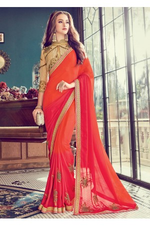 Orange  Satin Art Silk Embroidered  Saree 24354