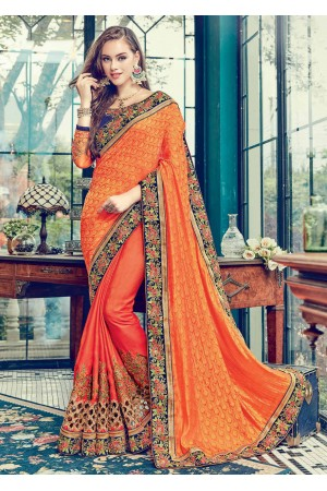 Orange  Satin Jacquard Art Silk Embroidered  Saree 24350