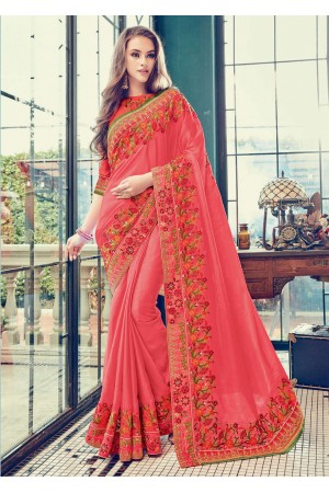 Peach Satin Art Silk Embroidered  Saree 24357