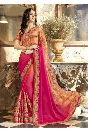 Pink Chiffon Embroidered Festive Saree 88001