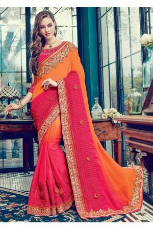 Pink Satin Embroidered  Saree 24353