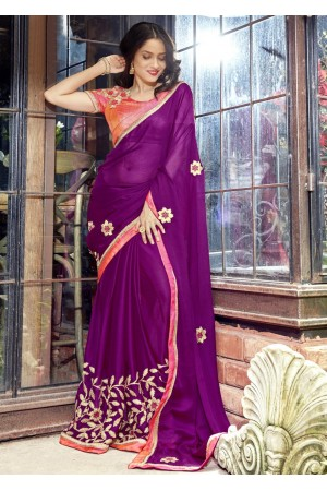 Purple Faux Georgette Embroidered Festive Saree 97078