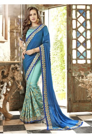 SkyBlue Georgette Chiffon Embroidered Festive Saree 88003
