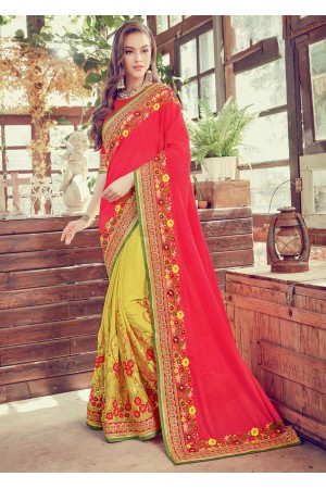 Yellow Crape Art Silk Embroidered  Saree 24348