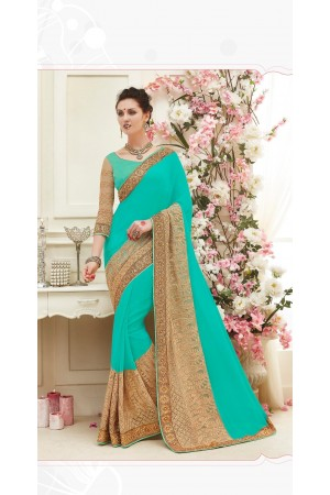 Party wear green color saree