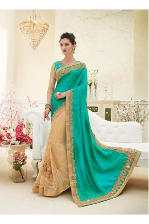 Party wear green gold color saree