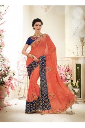 Party wear orange black color saree