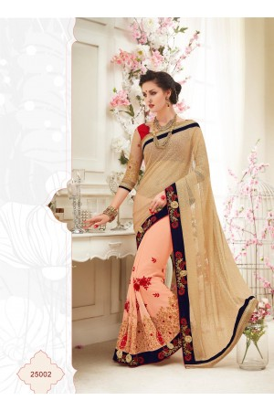 Party wear peach color saree
