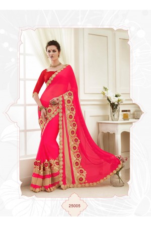 Party wear red color saree