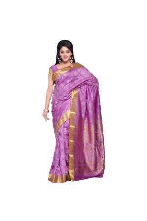 Exclusive Art Silk Paithani theme Border & Rich Zari butta saree - Lavender