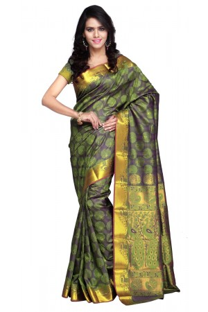 Exclusive Art Silk Paithani theme Border & Rich Zari butta saree - Pastel-Green