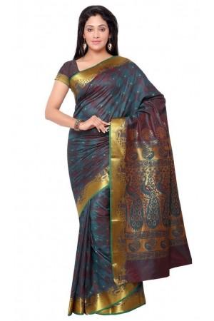 Exclusive Art Silk Paithani theme Border & Rich Zari butta saree - Rama