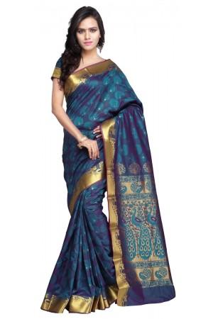 Exclusive Art Silk Paithani theme Border & Rich Zari butta saree - Rama-Green