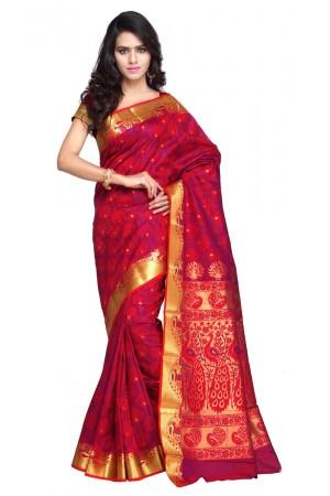 Exclusive Art Silk Paithani theme Border & Rich Zari butta saree - Red