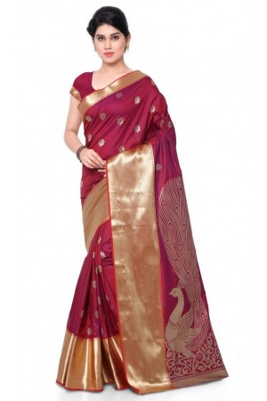 Exclusive big Peacock Pallu Paithani Theam Silk Saree - Red