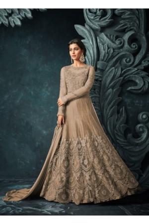 Beige Net Trouser Style Anarkali Suit 1206a