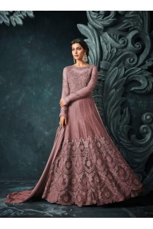 Mauve Net Trouser Style Anarkali Suit 1206