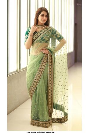 Bollywood Sabyasachi Inspired Raashi Khanna Green net Saree
