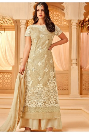 beige net embroidered palazzo style suit 5111
