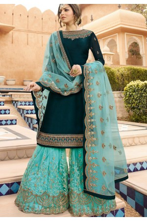 drashti dhami blue satin georgette embroidered sharara style suit 3602