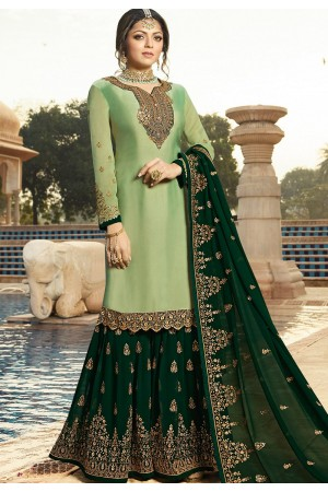 drashti dhami green satin georgette embroidered sharara style suit 3605