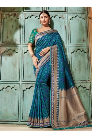 Blue pure banarasi silk saree 2008