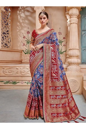 Blue red color pure banarasi silk wedding wear saree 2005