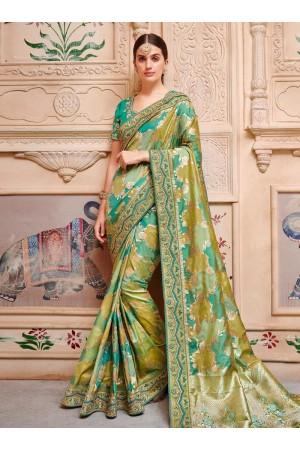 Green color pure banarasi silk indian wedding saree 2002