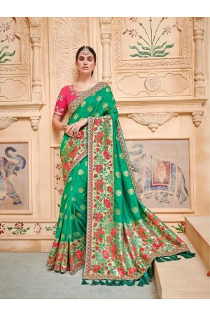 Green pink pure banarasi silk wedding saree 2010
