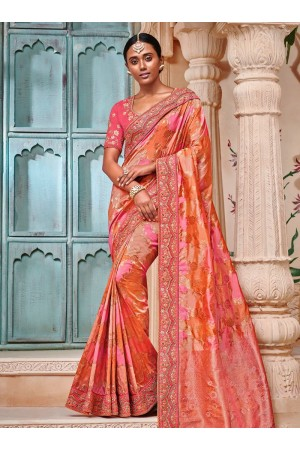 Orange and pinl color pure banarasi silk indian wedding saree 2001