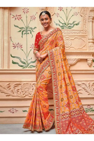 Orange color silk pure banarasi wedding saree 2006