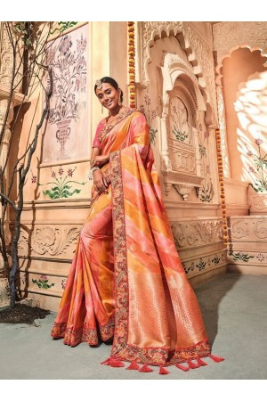 Orange pink stripes pure banarasi silk wedding saree 2003