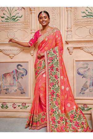 Peach pure banarasi silk saree 2009