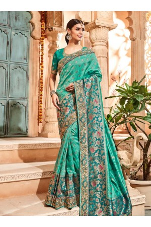 Sea green pure banarasi silk jacquard silk wedding saree 2004