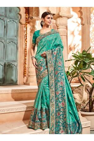 Sea green pure banarasi silk jacquard silk wedding saree 2004