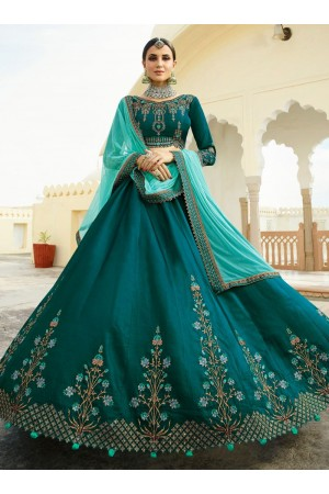 Teal green peach silk Indian wedding lehenga choli 803