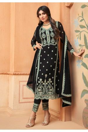 Black georgette embroidered kameez with pant 96002