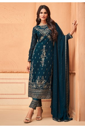 Blue georgette embroidered pant style suit 96001