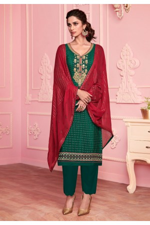 Green georgette pant style suit 2016